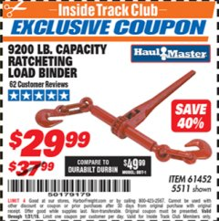 Harbor Freight ITC Coupon 9200 LB. CAPACITY RATCHETING LOAD BINDER Lot No. 61452 Expired: 1/31/19 - $29.99