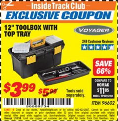 "Harbor Freight ITC Coupon 12"" TOOLBOX WITH TOP TRAY VOYAGER Lot No. 96602 Expired: 1/31/19 - $3.99"