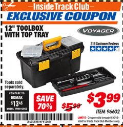 "Harbor Freight ITC Coupon 12"" TOOLBOX WITH TOP TRAY VOYAGER Lot No. 96602 Valid Thru: 9/30/19 - $3.99"