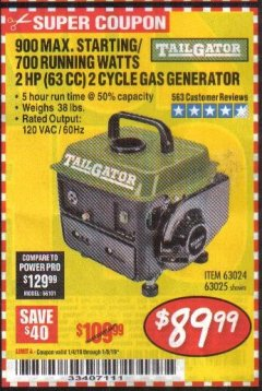 Harbor Freight Coupon TAILGATOR 900 PEAK / 700 RUNNING WATTS, 2HP (63CC) 2 CYCLE GAS GENERATOR EPA/CARB Lot No. 63024/63025 Expired: 1/6/19 - $89.99