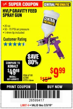 Harbor Freight Coupon HVLP GRAVITY FEED SPRAY GUN Lot No. 67181,62300,47016 Expired: 2/3/19 - $9.99