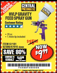 Harbor Freight Coupon HVLP GRAVITY FEED SPRAY GUN Lot No. 67181,62300,47016 Expired: 4/5/19 - $9.99