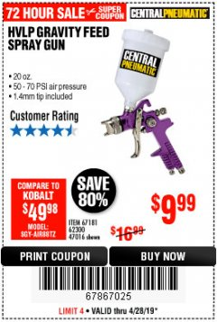Harbor Freight Coupon HVLP GRAVITY FEED SPRAY GUN Lot No. 67181,62300,47016 Expired: 4/28/19 - $9.99