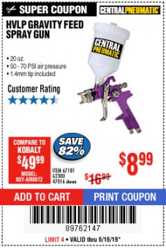 Harbor Freight Coupon HVLP GRAVITY FEED SPRAY GUN Lot No. 67181,62300,47016 Expired: 6/16/19 - $8.99