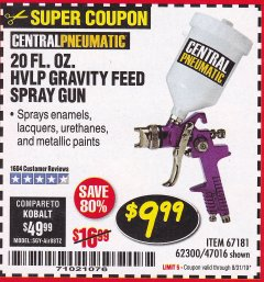 Harbor Freight Coupon HVLP GRAVITY FEED SPRAY GUN Lot No. 67181,62300,47016 Expired: 8/31/19 - $9.99