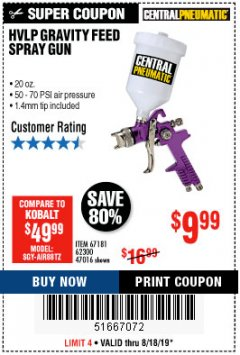 Harbor Freight Coupon HVLP GRAVITY FEED SPRAY GUN Lot No. 67181,62300,47016 Expired: 8/18/19 - $9.99