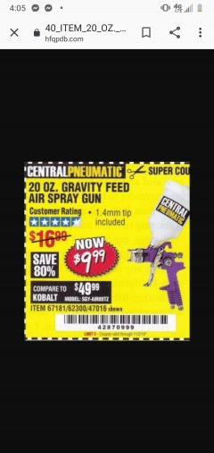 Harbor Freight Coupon HVLP GRAVITY FEED SPRAY GUN Lot No. 67181,62300,47016 Expired: 10/2/19 - $9.99