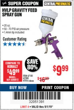 Harbor Freight Coupon HVLP GRAVITY FEED SPRAY GUN Lot No. 67181,62300,47016 Expired: 9/1/19 - $9.99