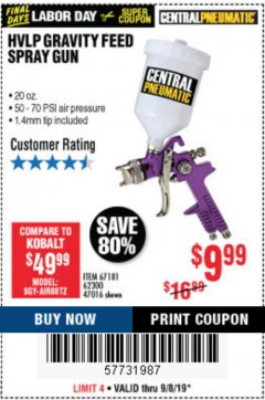 Harbor Freight Coupon HVLP GRAVITY FEED SPRAY GUN Lot No. 67181,62300,47016 Expired: 9/8/19 - $9.99