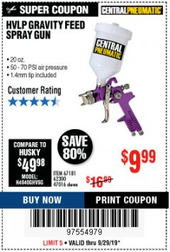 Harbor Freight Coupon HVLP GRAVITY FEED SPRAY GUN Lot No. 67181,62300,47016 Expired: 9/29/19 - $9.99