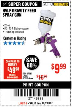 Harbor Freight Coupon HVLP GRAVITY FEED SPRAY GUN Lot No. 67181,62300,47016 Expired: 11/30/19 - $9.99
