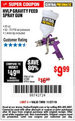 Harbor Freight Coupon HVLP GRAVITY FEED SPRAY GUN Lot No. 67181,62300,47016 Expired: 11/27/19 - $9.99