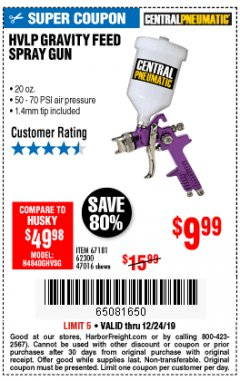 Harbor Freight Coupon HVLP GRAVITY FEED SPRAY GUN Lot No. 67181,62300,47016 Expired: 12/24/19 - $9.99