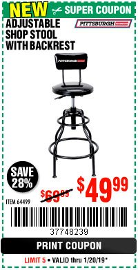 Harbor Freight Coupon ADJUSTABLE SHOP STOOL WITH BACKREST Lot No. 64499 Expired: 1/20/19 - $49.99