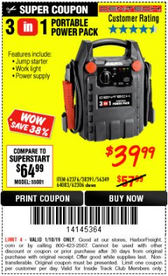 Harbor Freight ITC Coupon 3-IN-1 PORTABLE POWER PACK WITH JUMP STARTER Lot No. 38391/60657/62306/62376/64083 Expired: 1/10/19 - $39.99