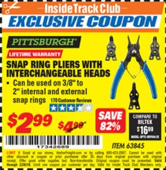 Harbor Freight ITC Coupon PITTSBURGH SNAP RING PLIERS WITH INTERCHANGEABLE HEADS Lot No. 63845 Dates Valid: 12/31/69 - 2/28/19 - $2.99