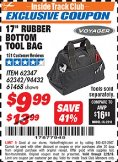 "Harbor Freight ITC Coupon 17"" RUBBER BOTTOM TOOL BAG Lot No. 62347/62342/94432/61468 Dates Valid: 1/18/19 - 2/24/19 - $9.99"