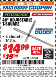 "Harbor Freight ITC Coupon 48"" ADJUSTABLE T-SQUARE Lot No. 67778 Dates Valid: 2/1/19 - 2/28/19 - $14.99"