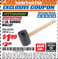 Harbor Freight ITC Coupon 1 LB. RUBBER MALLET Lot No. 60503/69050 Valid Thru: 2/28/19 - $1.99