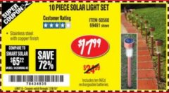 Harbor Freight Coupon 10 PIECE STAINLESS STEEL SOLAR LIGHT SET Lot No. 60560/66249/69461 Expired: 7/24/18 - $17.99