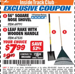 "Harbor Freight ITC Coupon 56"" SQUARE NOSE SHOVEL / LEAF RAKE WITH WOODEN HANDLE Lot No. 69791/67535 Valid Thru: 2/28/19 - $7.99"