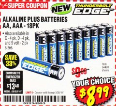 Harbor Freight Coupon ALKALINE BATTERIES Lot No. 64490 EXPIRES: 2/28/19 - $8.99