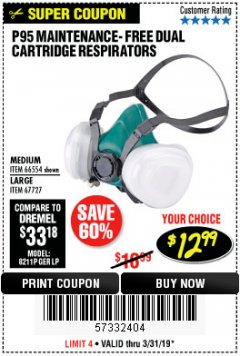 Harbor Freight Coupon P95 MAINTENANCE-FREE DUAL CARTRIDGE RESPIRATORS Lot No. 66554/67727 Expired: 3/31/19 - $12.99