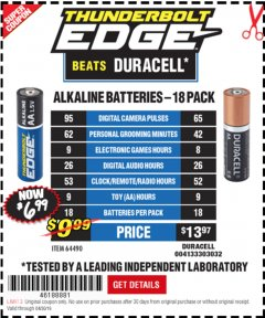 Harbor Freight Coupon THUNDERBOLT EDGE ALKALINE PLUS BATTERIES, AA, AAA - 18PK Lot No. 64490 Expired: 4/30/19 - $6.99