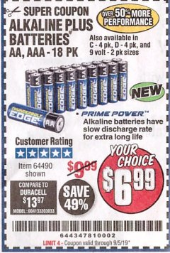 Harbor Freight Coupon THUNDERBOLT EDGE ALKALINE PLUS BATTERIES, AA, AAA - 18PK Lot No. 64490 Expired: 9/5/19 - $6.99