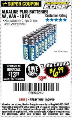 Harbor Freight Coupon THUNDERBOLT EDGE ALKALINE PLUS BATTERIES, AA, AAA - 18PK Lot No. 64490 Expired: 11/30/19 - $6.99
