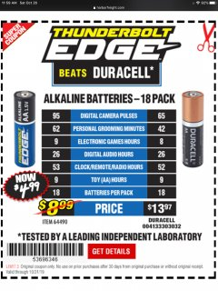 Harbor Freight Coupon THUNDERBOLT EDGE ALKALINE PLUS BATTERIES, AA, AAA - 18PK Lot No. 64490 Expired: 10/31/19 - $4.99