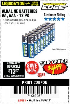 Harbor Freight Coupon THUNDERBOLT EDGE ALKALINE PLUS BATTERIES, AA, AAA - 18PK Lot No. 64490 Expired: 11/10/19 - $4.99