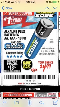 Harbor Freight Coupon THUNDERBOLT EDGE ALKALINE PLUS BATTERIES, AA, AAA - 18PK Lot No. 64490 Expired: 12/31/19 - $4.99