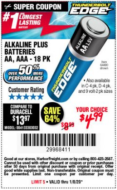 Harbor Freight Coupon THUNDERBOLT EDGE ALKALINE PLUS BATTERIES, AA, AAA - 18PK Lot No. 64490 Expired: 1/8/20 - $4.99