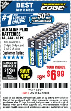 Harbor Freight Coupon THUNDERBOLT EDGE ALKALINE PLUS BATTERIES, AA, AAA - 18PK Lot No. 64490 Expired: 1/26/20 - $6.99