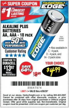 Harbor Freight Coupon THUNDERBOLT EDGE ALKALINE PLUS BATTERIES, AA, AAA - 18PK Lot No. 64490 Expired: 6/30/20 - $4.99