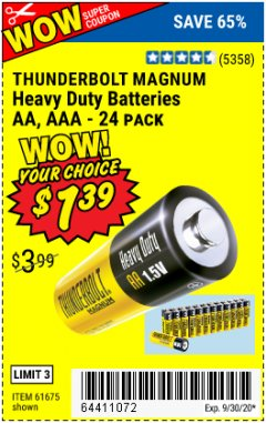 Harbor Freight Coupon THUNDERBOLT EDGE ALKALINE PLUS BATTERIES, AA, AAA - 18PK Lot No. 64490 Valid: 8/28/20 - 9/30/20 - $1.39