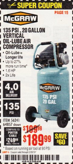Harbor Freight Coupon MCGRAW 20 GALLON, 135 PSI OIL-LUBE AIR COMPRESSOR Lot No. 56241/64857 Expired: 2/28/19 - $189.99