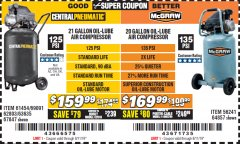 Harbor Freight Coupon MCGRAW 20 GALLON, 135 PSI OIL-LUBE AIR COMPRESSOR Lot No. 56241/64857 Valid Thru: 8/11/19 - $169.99