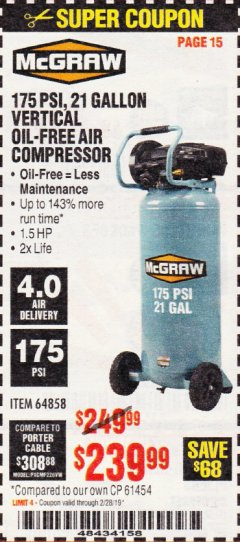 Harbor Freight Coupon MCGRAW 175 PSI, 21 GALLON VERTICAL OIL-FREE AIR COMPRESSOR Lot No. 64858 Expired: 2/28/19 - $239.99