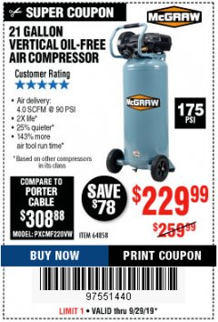 Harbor Freight Coupon MCGRAW 175 PSI, 21 GALLON VERTICAL OIL-FREE AIR COMPRESSOR Lot No. 64858 Expired: 9/29/19 - $229.99
