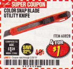 Harbor Freight Coupon COLOR SNAP BLADE UTILITY KNIFE Lot No. 60828 Valid Thru: 2/28/19 - $1