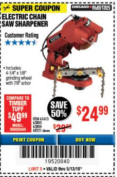Harbor Freight Coupon ELECTRIC CHAIN SAW SHARPENER Lot No. 63804/63803/61613/68221 Expired: 5/13/18 - $24.99