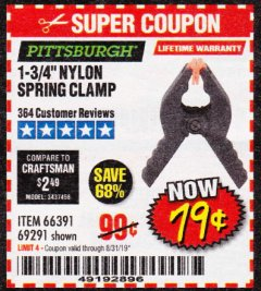 "Harbor Freight Coupon 1-3/4"" NYLON SPRING CLAMP Lot No. 66391 Expired: 8/31/19 - $0.79"