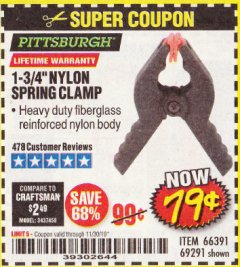 "Harbor Freight Coupon 1-3/4"" NYLON SPRING CLAMP Lot No. 66391 Expired: 11/30/19 - $0.79"