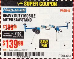 Harbor Freight Coupon HERCULES HEAVY DUTY MOBILE MITER SAW STAND Lot No. 64751 EXPIRES: 2/28/19 - $139.99