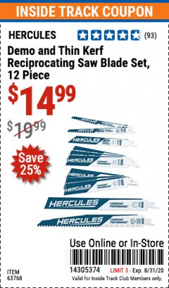 "Harbor Freight Coupon HERCULES 6"" AND 9"" DEMO AND THIN KERF RECIPROCATING SAW BLADE SET PACK OF 12 Lot No. 63768 Valid Thru: 8/31/20 - $14.99"
