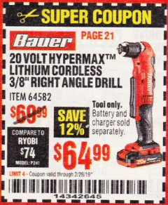 "Harbor Freight Coupon BAUER 20 VOLT HYPERMAX LITHIUM CORDLESS 3/8"" RIGHT ANGLE DRILL Lot No. 64582 Expired: 2/28/19 - $64.99"