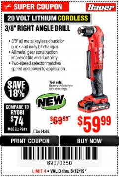 "Harbor Freight Coupon BAUER 20 VOLT HYPERMAX LITHIUM CORDLESS 3/8"" RIGHT ANGLE DRILL Lot No. 64582 Expired: 5/12/19 - $59.99"
