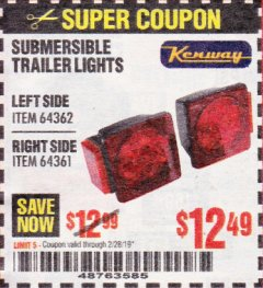 Harbor Freight Coupon SUBMERSIBLE TRAILER LIGHTS Lot No. 64362/64361 Valid Thru: 2/28/19 - $12.49
